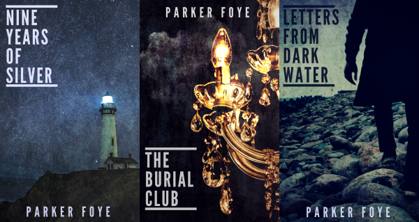 Covers of Nine Years of Silver, The Burial Club, and Letters From Dark Water